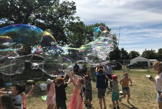 a giant bubble floating in the air